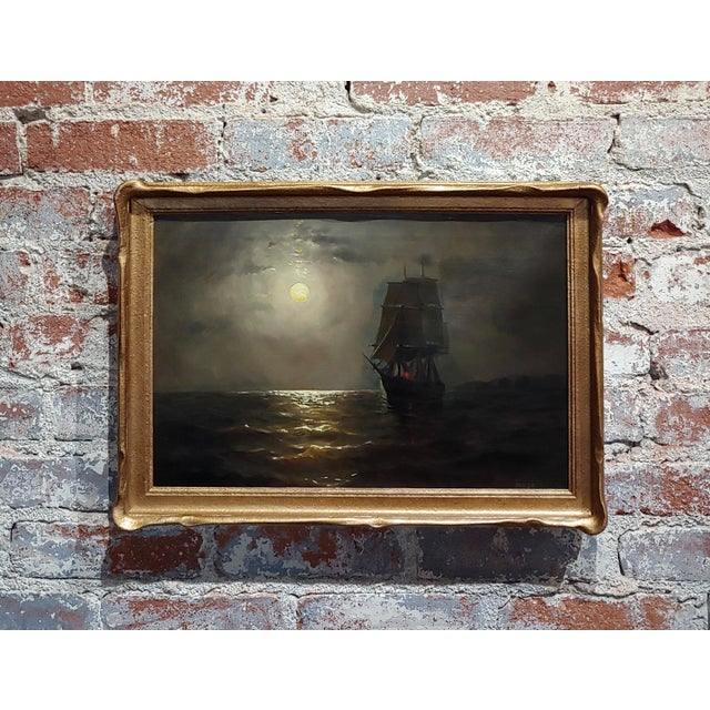 19th Century Ship Sailing by Moonlight -Oil Painting Signed by Miller For Sale - Image 9 of 9