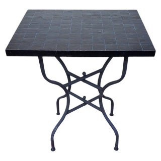 Moroccan All Black Mosaic Side Table For Sale