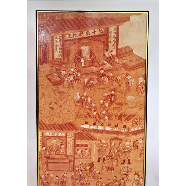 """Large Asian print in hues of orange by Greg Copeland. Has a """"Greg Copeland Originals"""" metal tag on the side of gold-tone..."""