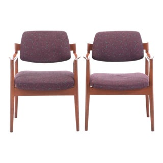Jen Risom Modernist Walnut Armchairs- a Pair For Sale