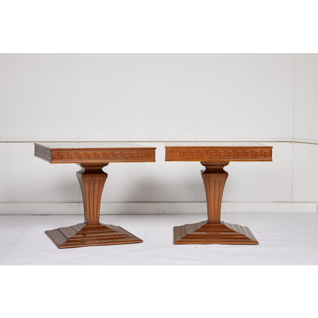 Mid Century Side Tables With Greek Key Detail - a Pair For Sale - Image 9 of 9