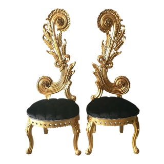 French Baroque Black Velvet and Giltwood Side Chairs - a Pair For Sale