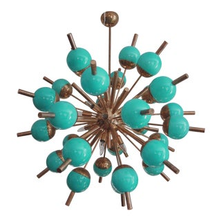 Tiffany Blue (Turquoise Glass and Brass) Sputnik Chandelier For Sale
