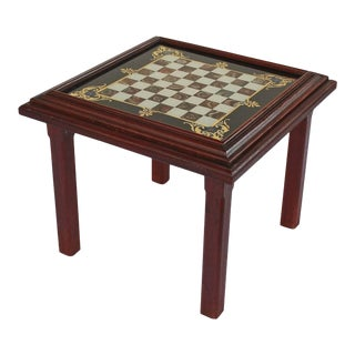 English Low Table with Chess Board Top For Sale