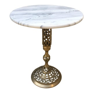 Vintage Marble & Brass Side Table