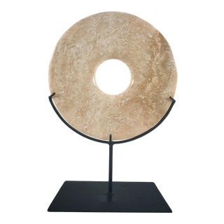 Late 20th Century Chinese Hardstone Bi Disc For Sale