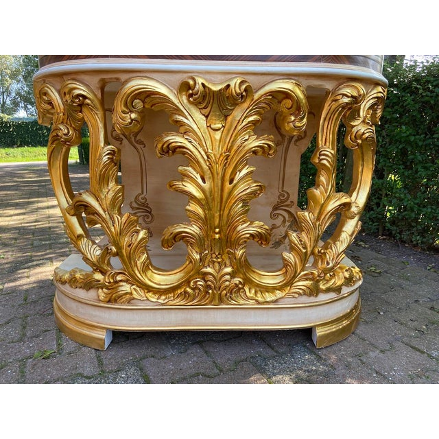 New Italian Rococo/Baroque Style Table in Gold and Brown With Wooden Top For Sale - Image 10 of 13