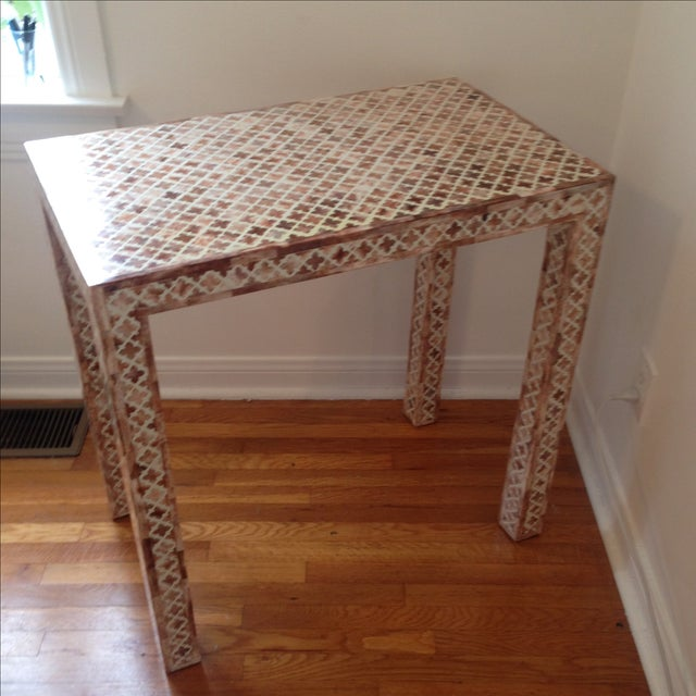 HD Buttercup Shell Inlay Trellis Console - Image 9 of 11