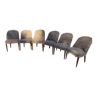 Modern Wool Dining Chairs With Walnut Legs and Frame - Set of 6 For Sale