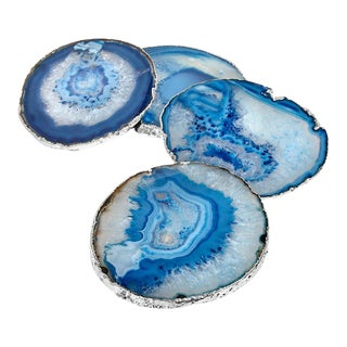 Lumino Gemstone Coasters, Azure Agate & Silver, Set of 4 For Sale