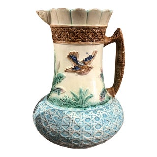 Antique Ceramic Majolica Pitcher For Sale