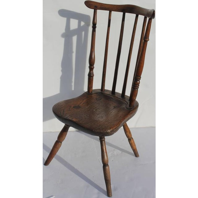 Early American Early and Rare 19th Century Rare Child's Windsor Chair For Sale - Image 3 of 10