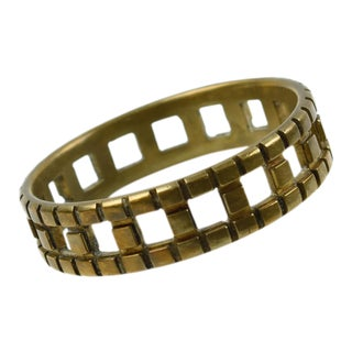 Mid-Century Modern Bronze Carved Bangle Bracelet For Sale