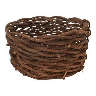Vintage Woven Twig Basket For Sale