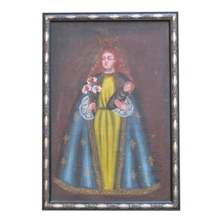 Vintage Madonna Peruvian Painting For Sale