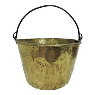19th Century American Hammered Solid Brass Fireplace Bucket or Scuttle For Sale