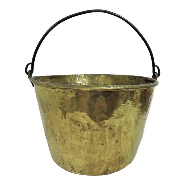 19th Century Antique American Solid Brass Fireplace Bucket or Scuttle For Sale