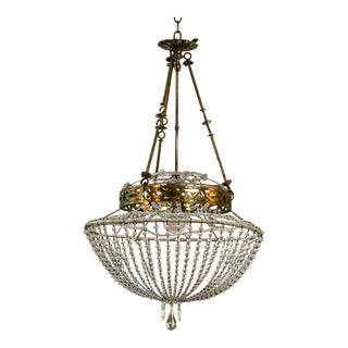 Vintage Glass Beaded Basket Chandelier For Sale