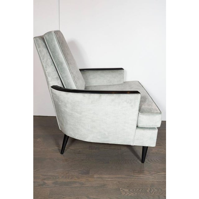 Mid-Century Modern Pair of Mid-Century Armchairs in Smoked Platinum Velvet and Ebonized Walnut For Sale - Image 3 of 9