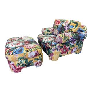 Kroll Furniture Floral Lounge Chair + Ottoman For Sale