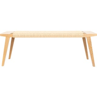 Fumed Oak Bench With Natural Handwoven Paper Chord For Sale