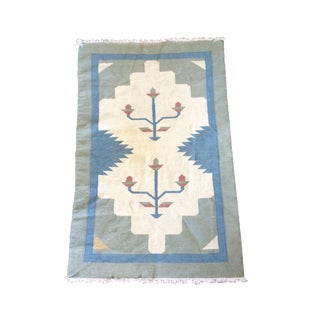 Vintage Southwestern Flat Weave Wool Accent Rug - Geometric Pattern 3′1″ × 4′10″ For Sale