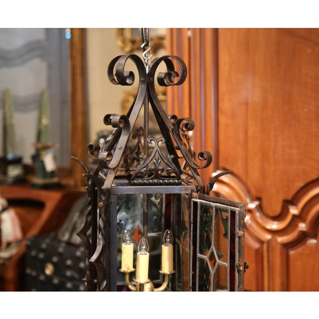 19th Century French Napoleon III Black Iron Lantern With Stained Glass Panels For Sale - Image 9 of 9