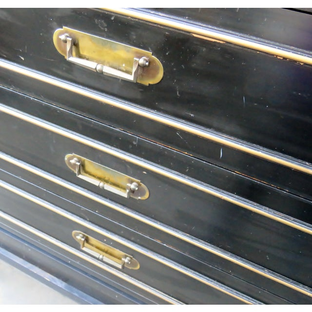 Black Vintage Mid-Century Black Chest of Drawers For Sale - Image 8 of 9