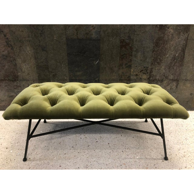 1960s 1960s Tufted Velvet and Wrought Iron Bench For Sale - Image 5 of 5