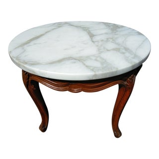Vintage Queen Anne Style Marble Accent Table For Sale