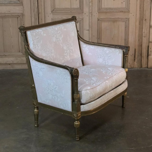 Late 19th Century 19th Century Italian Gilded Neoclassical Chair & a Half For Sale - Image 5 of 11