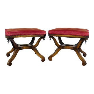 Regency Style Walnut Footstools - a Pair For Sale