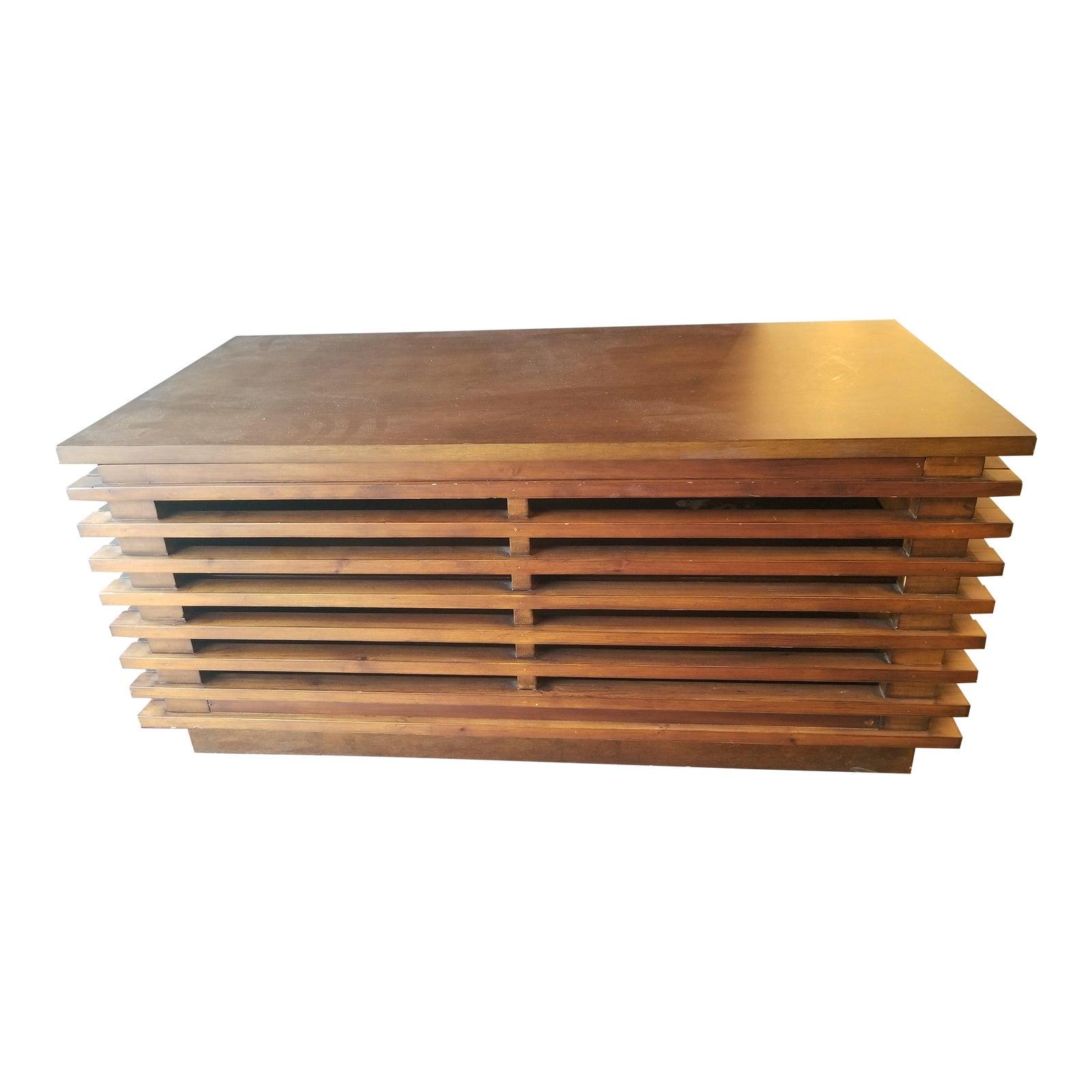 Mid Century Modern Slatted Walnut Wood Media Console