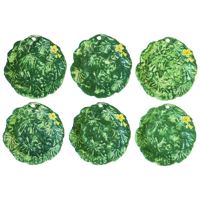 Set of Six Italian Designer Green Matte Pottery Plates With Lotus Design For Sale - Image 10 of 10