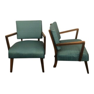 Art Deco Blue Leather Upholstered Lounge Chairs - a Pair For Sale