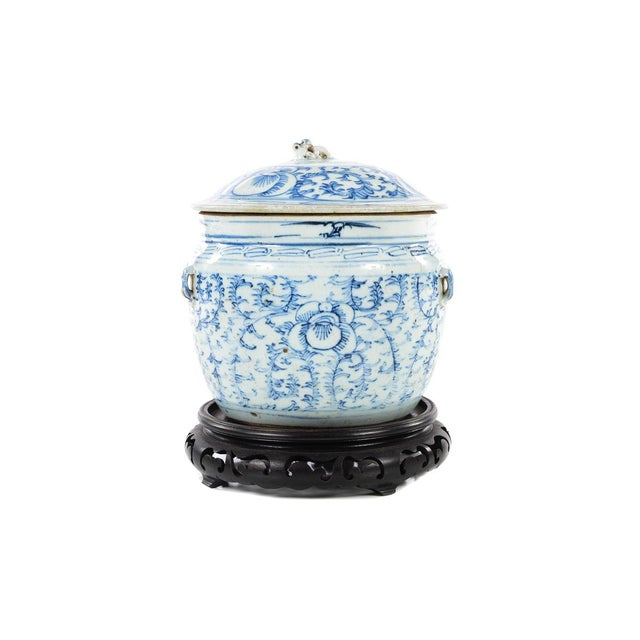 Chinese 19th C. Blue & White Porcelain Ginger Jar With Stand For Sale In Los Angeles - Image 6 of 9