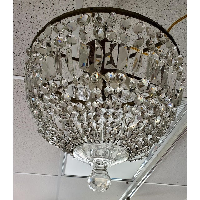 Mid 20th Century Vintage Empire Crystal Chandelier For Sale - Image 5 of 5