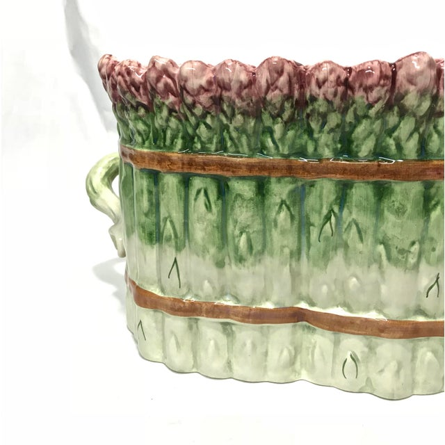 Portuguese Majolica Ceramic Asparagus Handled Container For Sale - Image 5 of 8