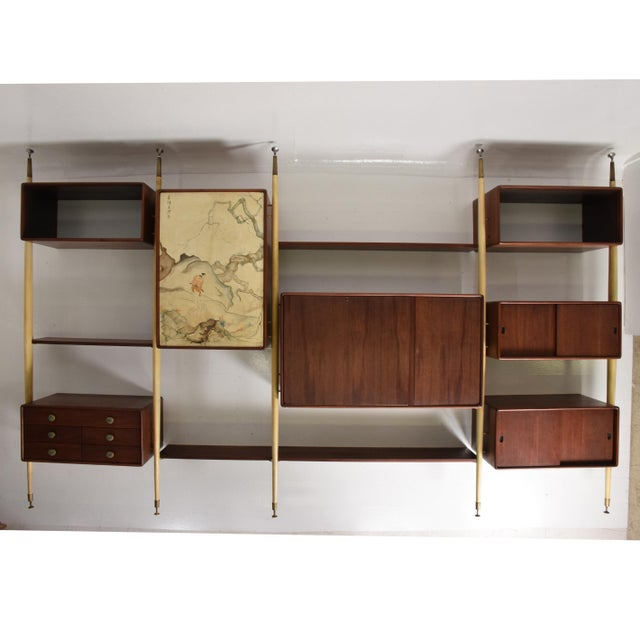 Monumental Mexican Modernist Wall Unit in Solid Mahogany and Goatskin For Sale - Image 12 of 12