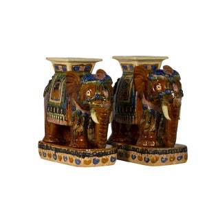 Ceramic Elephant Stools- A Pair For Sale