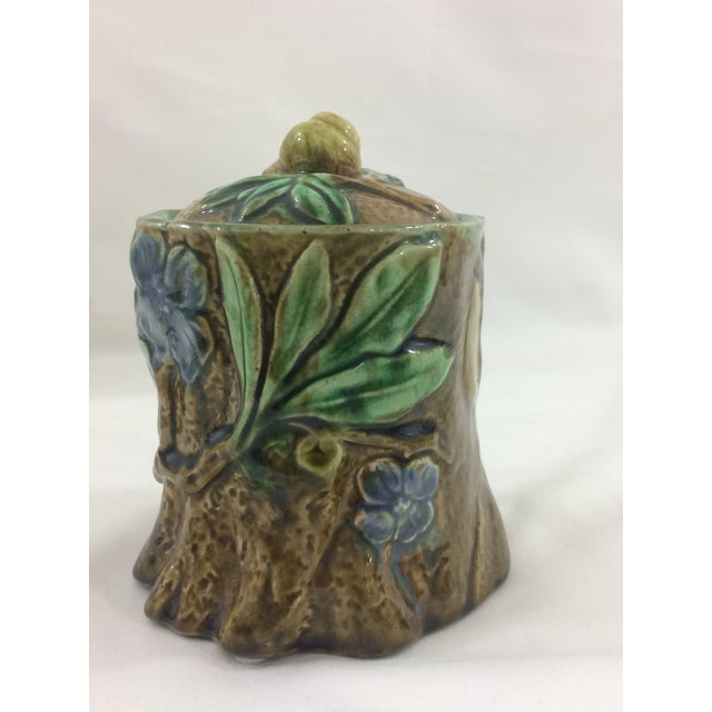 French 19th Century Tobacco Jar With Floral Design and Snail For Sale - Image 6 of 9