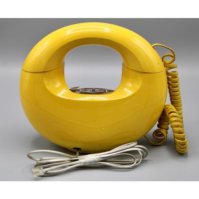 1970s Art Deco Lemon Yellow Rotary Telephone For Sale - Image 4 of 13