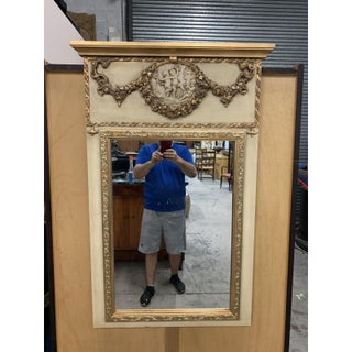 French Louis XVI Style Cherubs Painted and Parcel Gilt Trumeau Mirror Preview