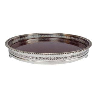 Vintage Silver Plate Reticulated Server Tray w/ Laminate Wood Grain Interior For Sale