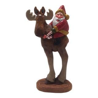 "Folk Art ""Santa On Moose"" By Susan M. Smith"