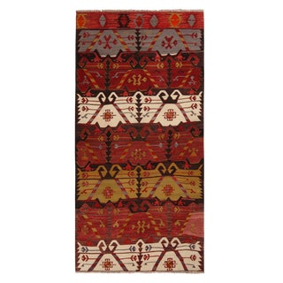 Vintage Emirdag Burgundy Red and Black Wool Kilim Rug With Rich and Bright Accents For Sale