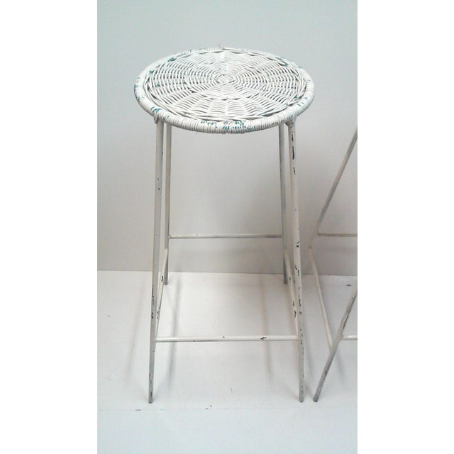 Iron & Wicker Bar Stools -- A Pair - Image 3 of 9