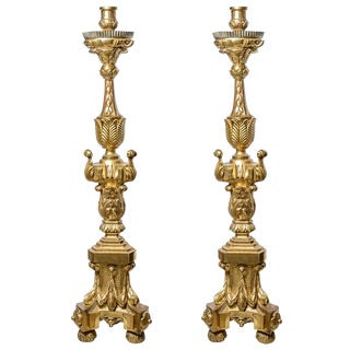 Pair of Italian Gilt Wood Torchieres For Sale