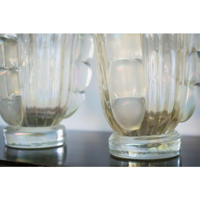 Glass Ribbed Murano Vases by Sergio Costantini, Pair For Sale - Image 7 of 9