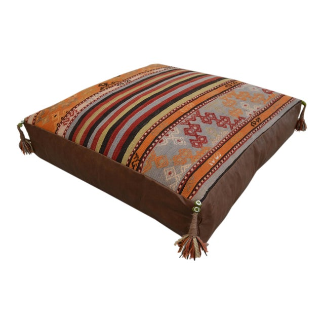 Turkish Hand Woven Floor Cushion Cover - 30″ X 30″ - Image 1 of 11